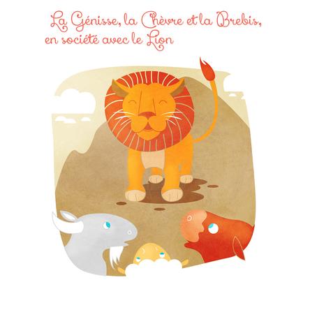 La Génisse, la Chèvre et la Brebis, en société avec le Lion | Marie Comont